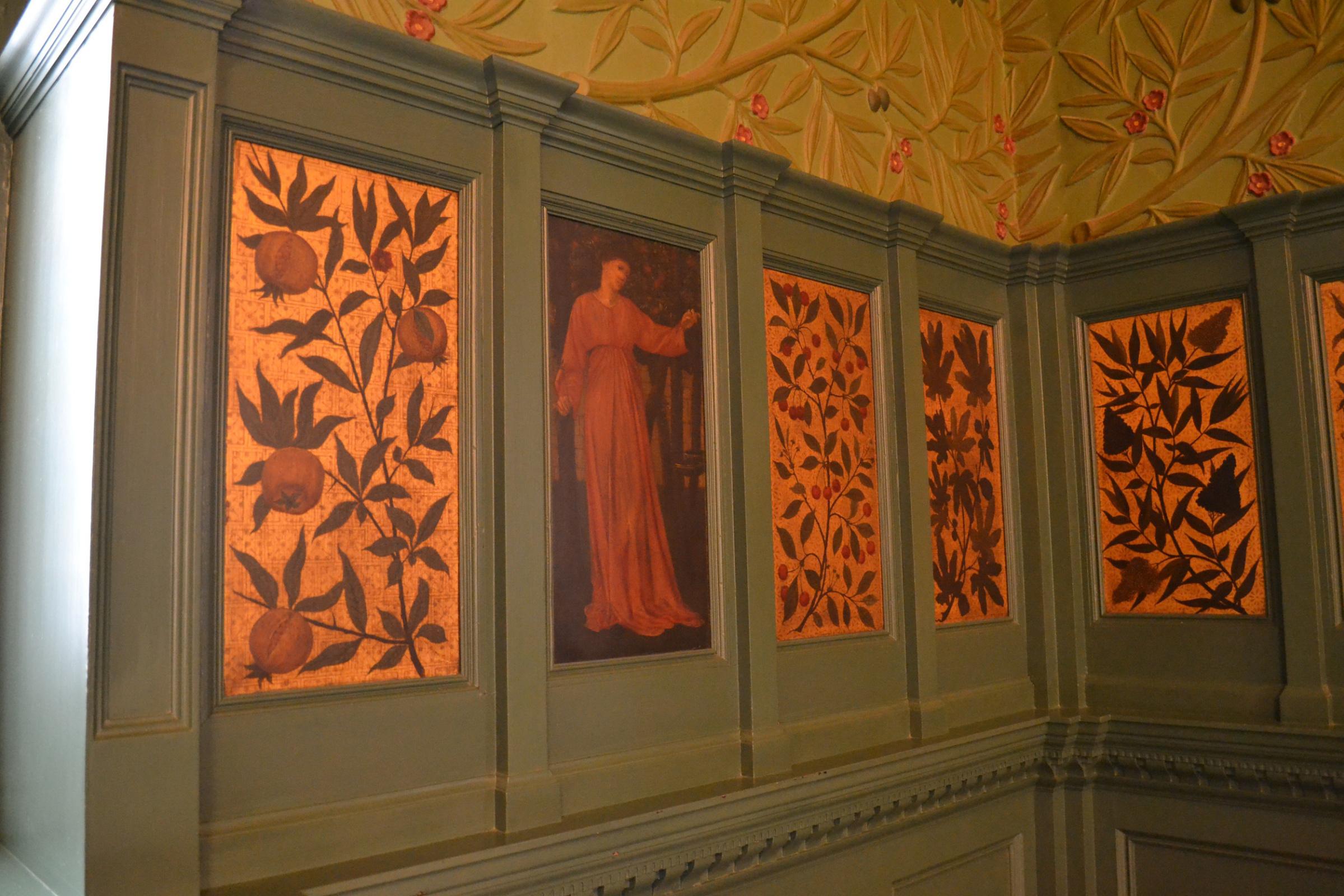 William Morris.  Intérieur de la chambre Morris, Londres.  Mur et panneaux