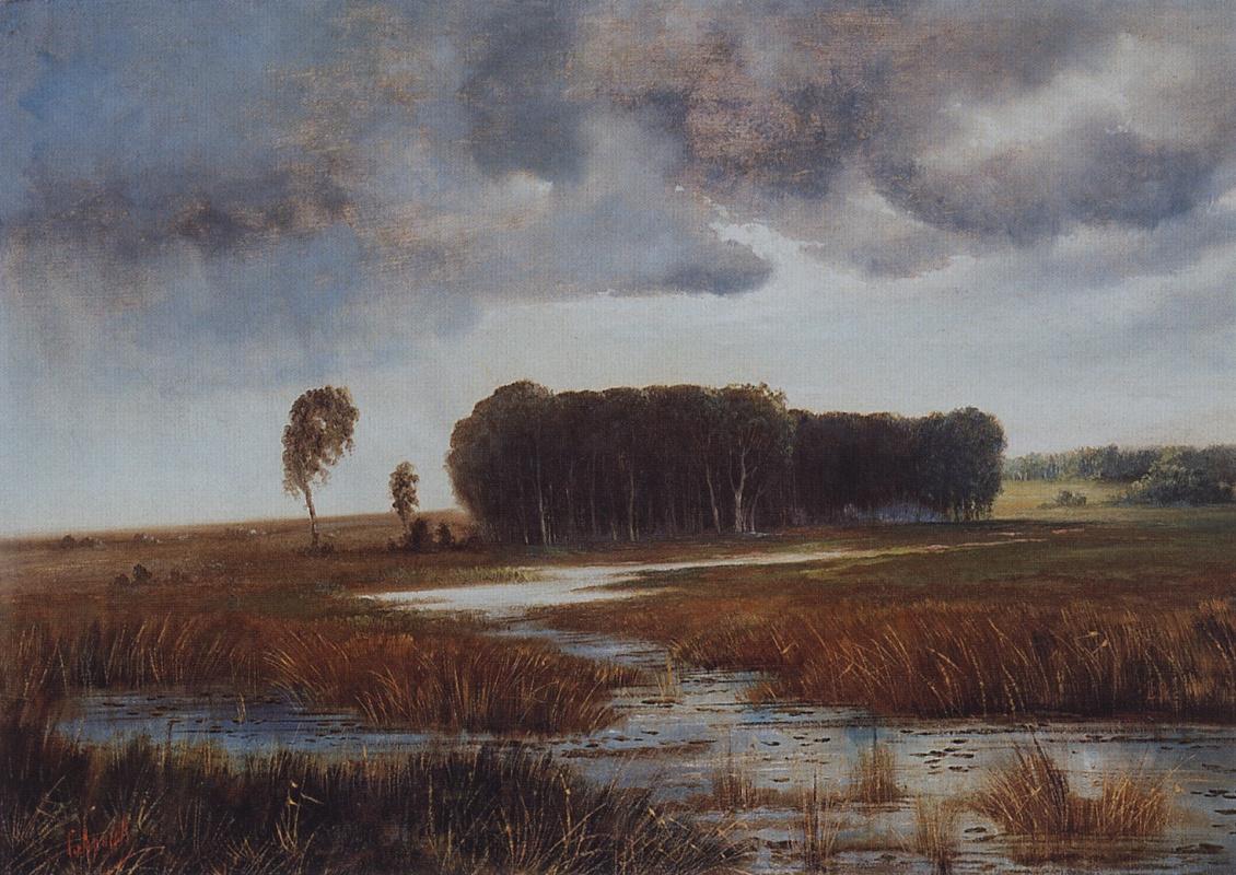 Алексей Кондратьевич Саврасов. Пейзаж с болотом и лесистым островом