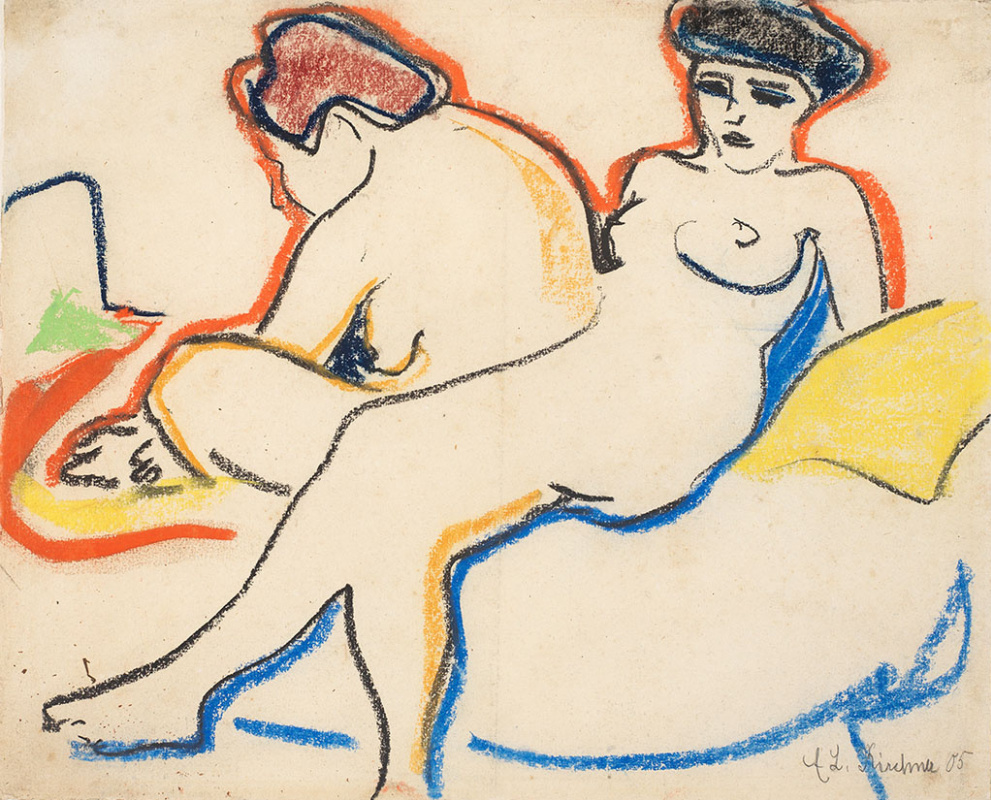 Ernst Ludwig Kirchner. Two Nudes on a Bad