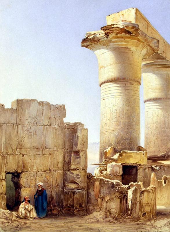 Шарль Пьеррон. Улочка восточного города с руинами египетского храма