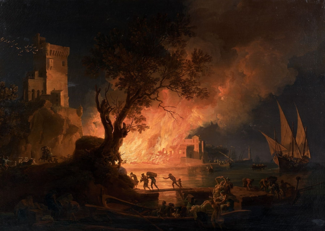 Pierre-Jacques Woller. Fire in the port near Naples.