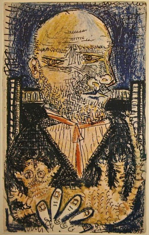 Пабло Пикассо. Портрет Амбруаза Воллара с котом