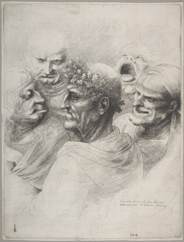 Five grotesque heads, including an elderly man with a wreath of oak leaves