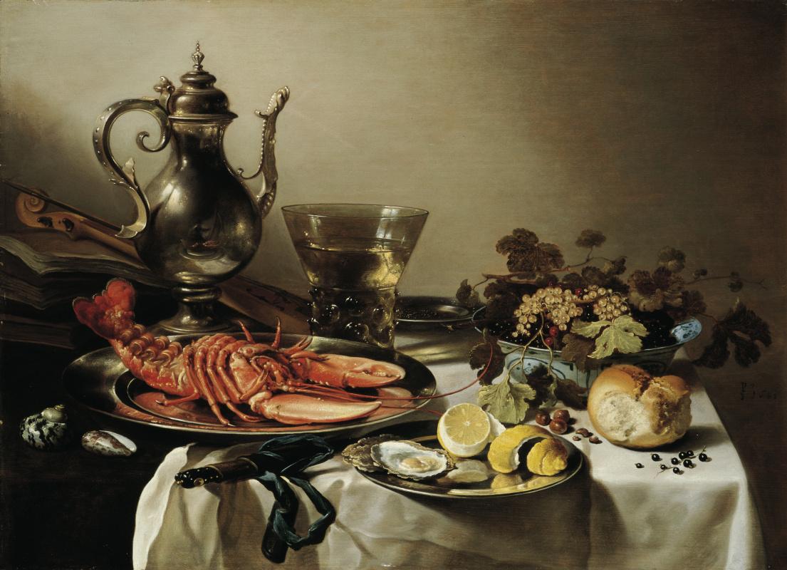 Pieter Claesz. Still life with lobster, jug, violin, lemon and berries