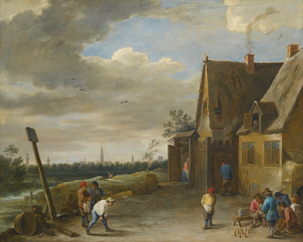 David Teniers the Younger. Playing skittles overlooking Antwerp