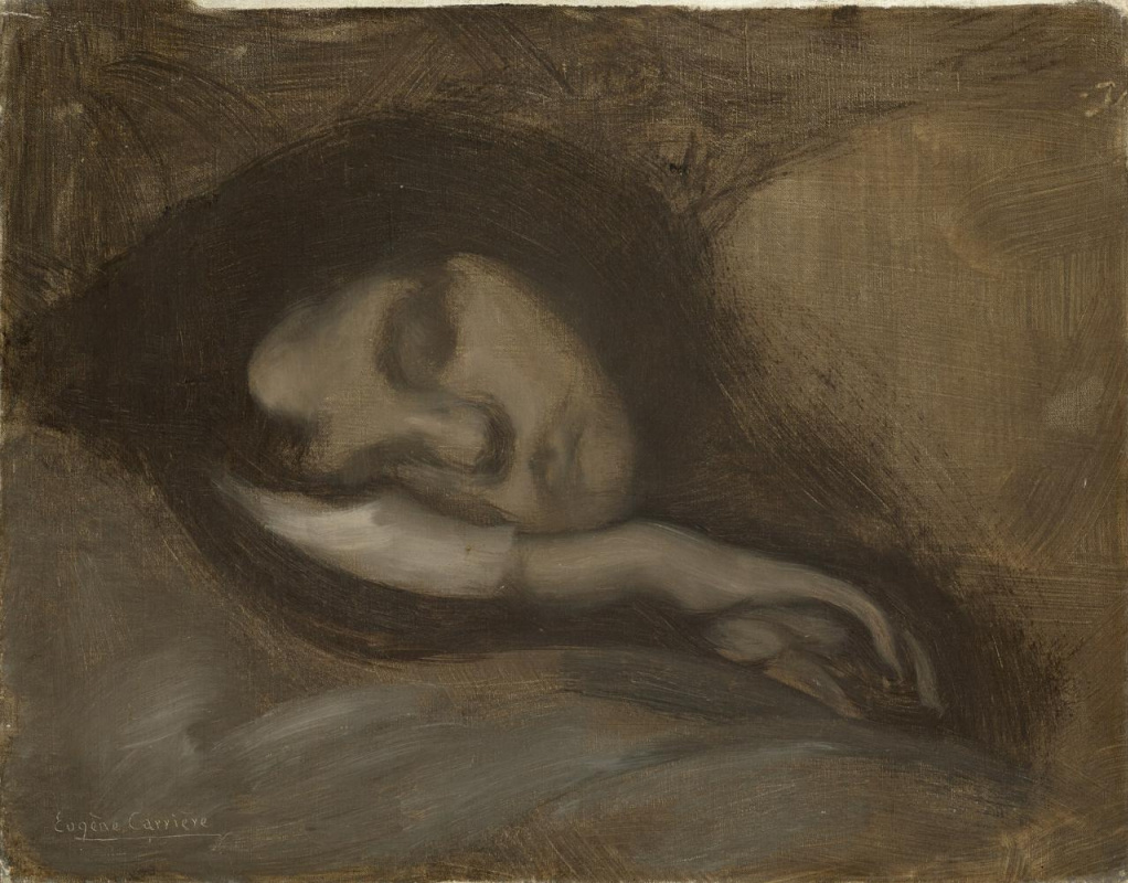 Eugene Carrier. The head of a sleeping woman