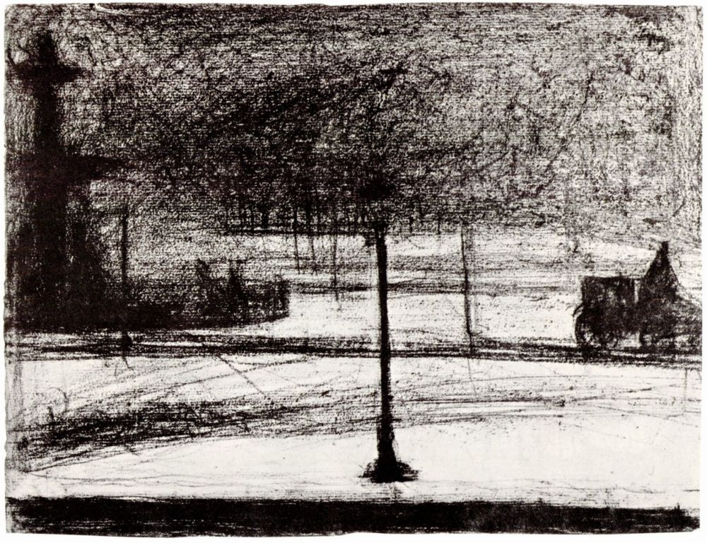 Жорж Сёра. Площадь Согласия в темноте в снегу