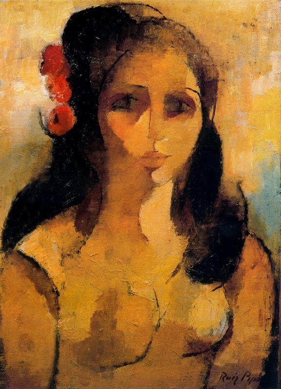 Мануэль Руис Пипо. Девушка с цветком в волосах