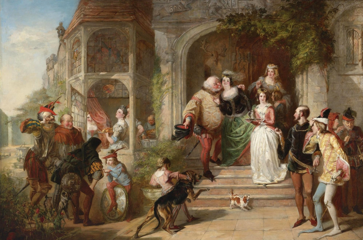 Beehives Powell Fright Great Britain 1819-1909. Scene from Shakespeare's comedy The Windsor mockers. Private collection