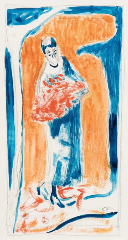 Куно Амье. Девушка с букетом красных цветов