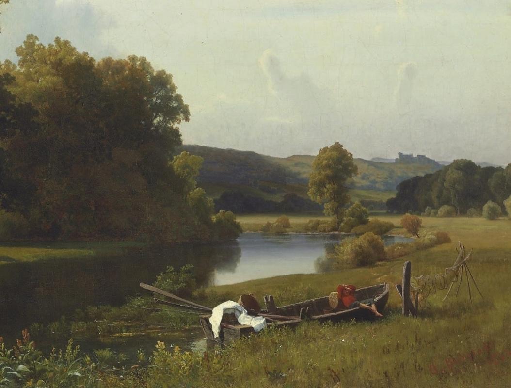 Albert Birštadt. River landscape, Westphalia. Fragment