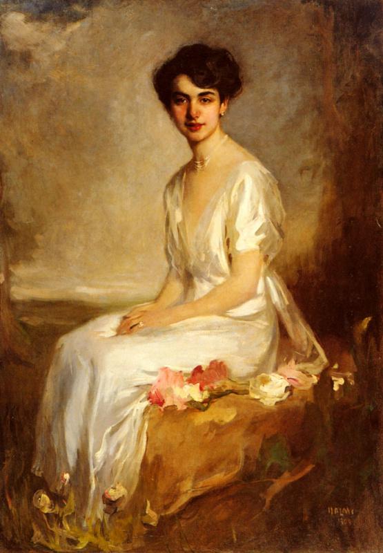 Артур Лайош Халми. Портрет элегантный молодой женщины в белом платье