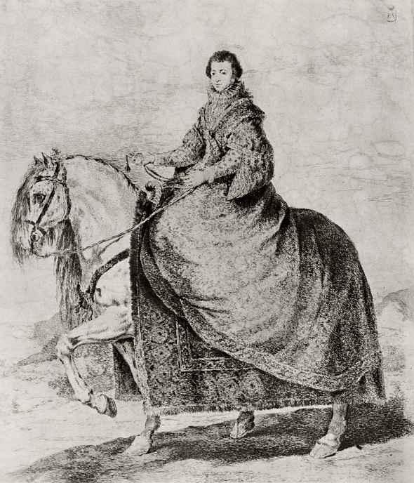 Франсиско Гойя. Конный портрет королевы Изабеллы Бурбонской, с Веласкеса