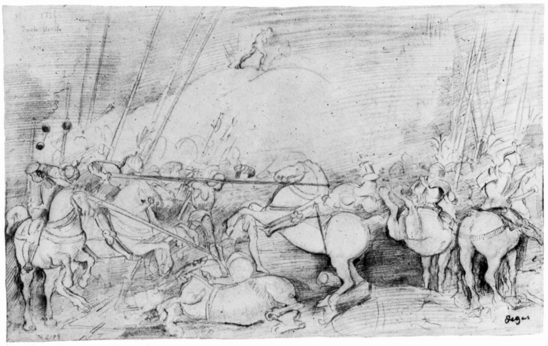 "Edgar Degas. The study of the composition of a painting, Ucello ""the Battle of San Romano"""
