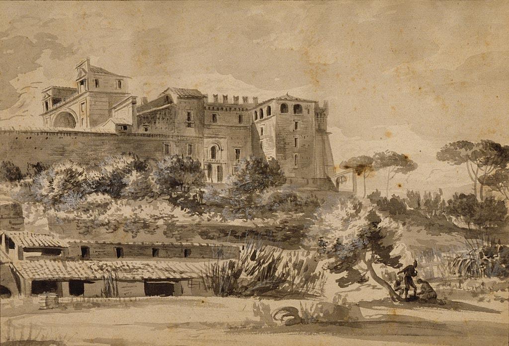 Жан-Жак де Буассье. Вид на итальянскую виллу и сад