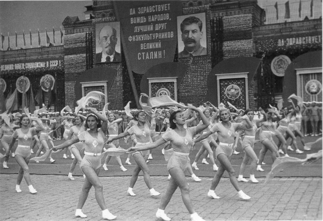 Historical photos. Stalin is the best friend of athletes. Poster with the slogan at the sports parade.