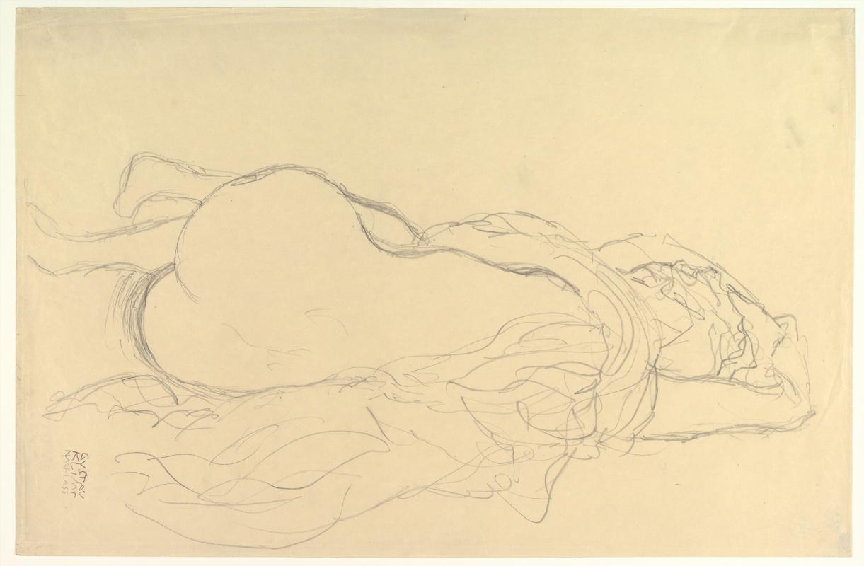 Густав Климт. Лежащая обнажённая с драпировкой, вид сзади