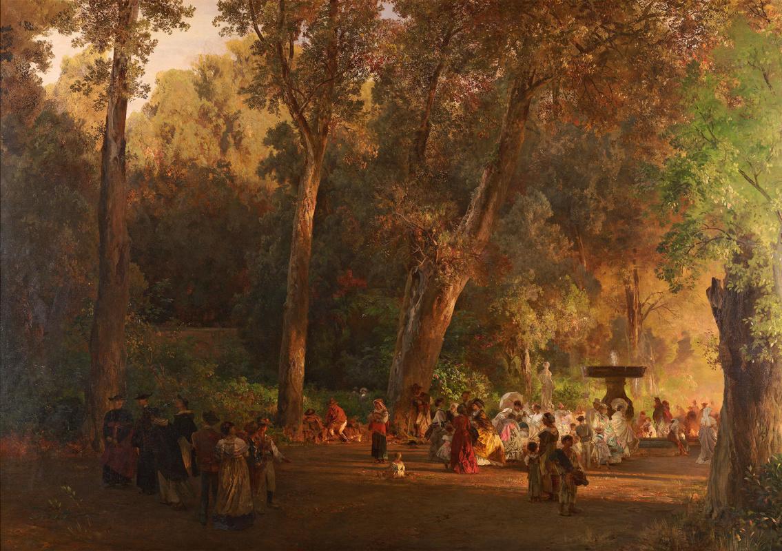Oswald Achenbach. In the park of Villa Torlonia