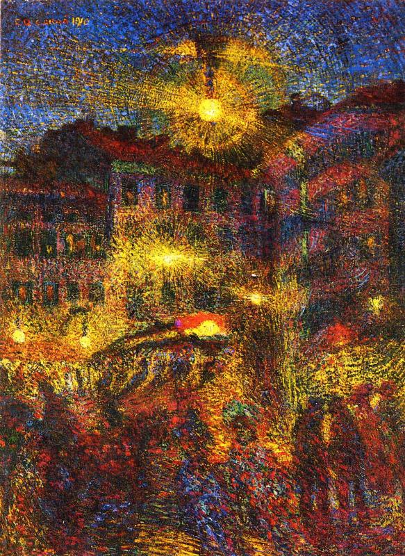 Карло Карра. Ночь на площади Беккариа в Милане