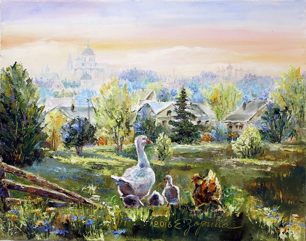 Elena Nikolaevna Zorina. Morning in the village