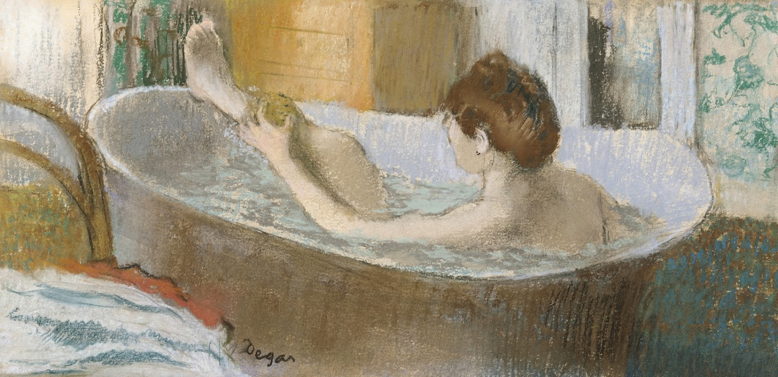 Edgar Degas. Woman in bath washing leg