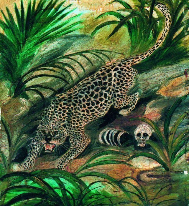 Антонио Лигабуэ. Леопард с черепом