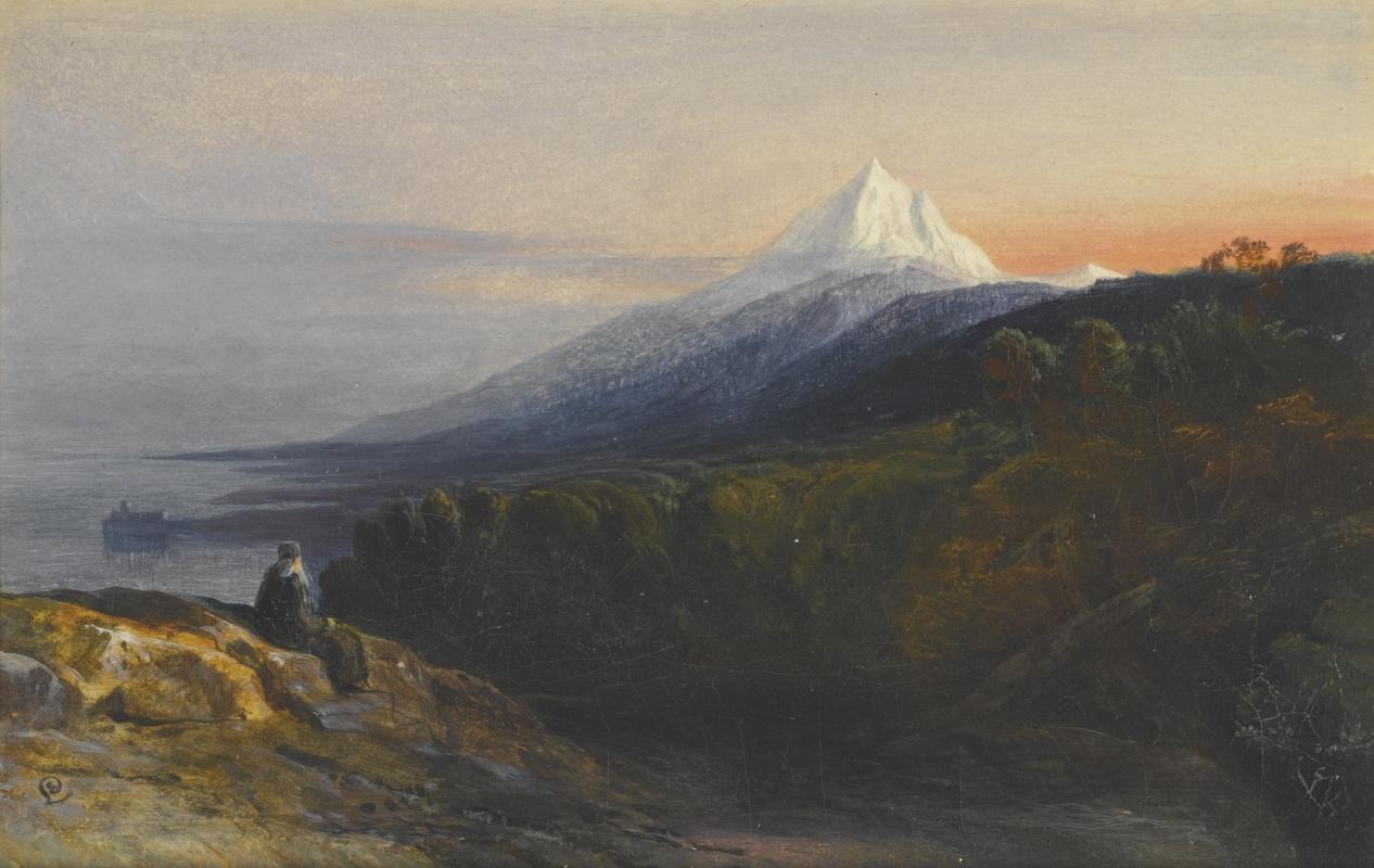 Эдвард Лир. Вид на Афон и монастырь Пантократор