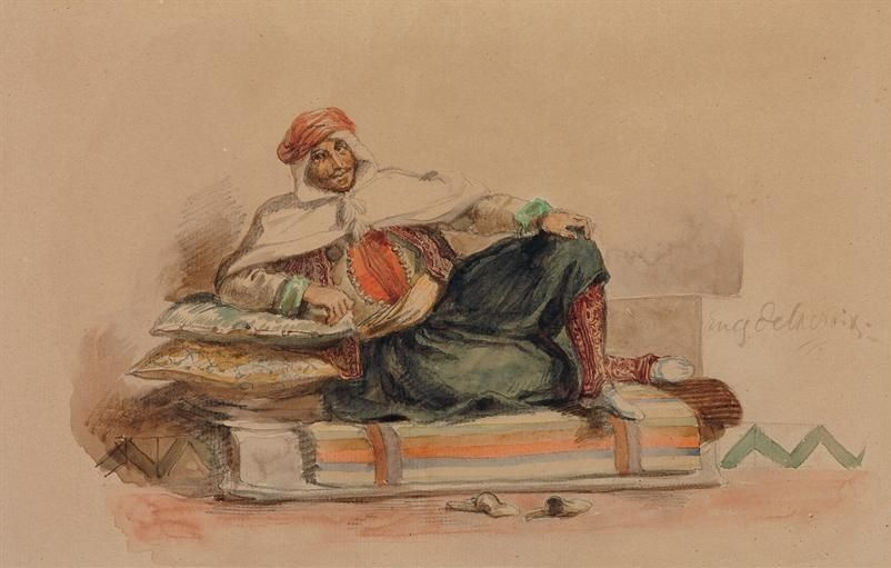 Eugene Delacroix. Berber is sitting on a low couch