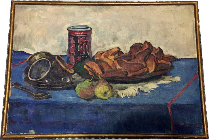Grigory Alexandrovich Sretensky. Still life with breadcrumbs