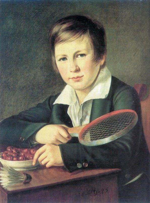 Александр Григорьевич Варнек. Портрет Н. А. Томилова в детстве, с ракеткой для игры в волан