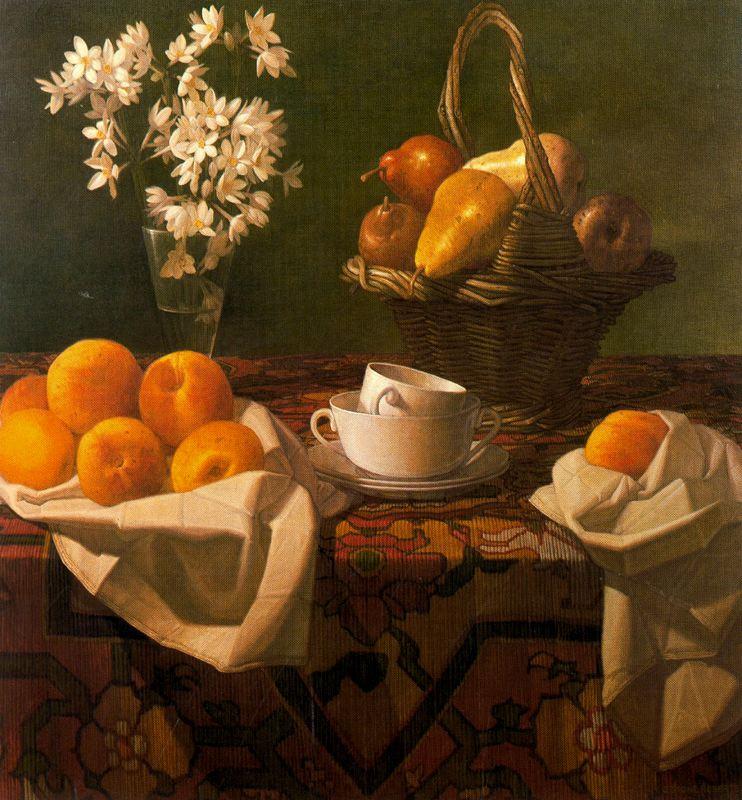 Стоун Робертс. Белые чашки и фрукты
