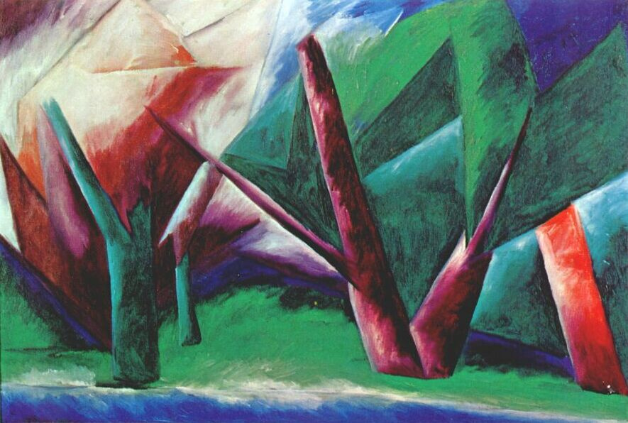 Natalia Goncharova. Forest. Red-green