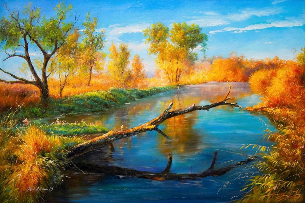 Alexander Romm. On an autumn day on the Volga rolls