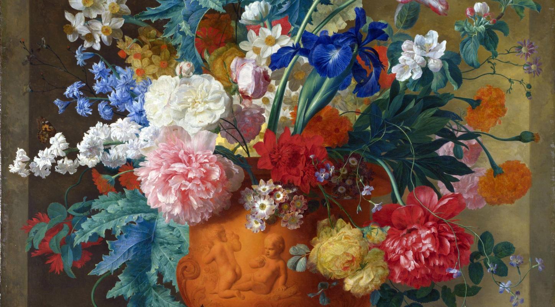 Ян ван Хейсум. Цветы в терракотовой вазе (фрагмент)