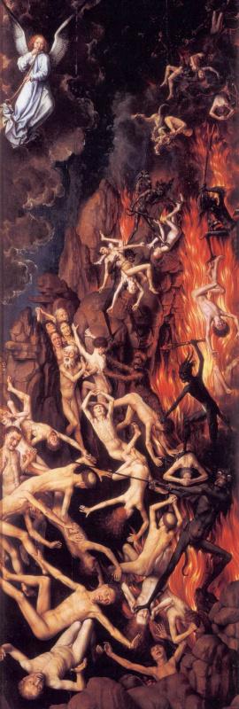 Ганс Мемлинг. Страшный суд. Триптих. Правая створка: Низвержение грешников в ад