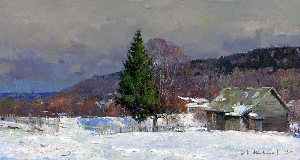 Alexander Victorovich Shevelyov. Winter Sherehovichi.Oil on canvas of 27.3 # 50,4 cm 2006