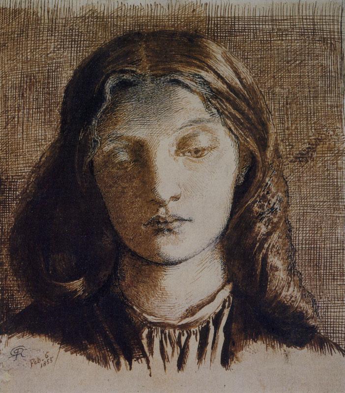 Данте Габриэль Россетти. Портрет Элизабет Сиддал с опущенным взглядом