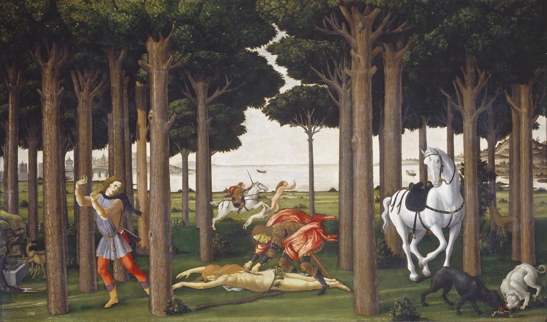 Сандро Боттичелли. Сцена из «Новеллы о Настаджо дельи Онести» II