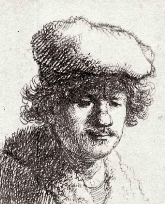 Рембрандт Харменс ван Рейн. Автопортрет в надвинутой на лоб шапке