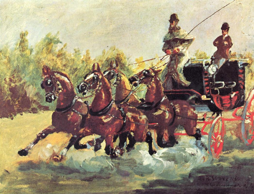 Henri de Toulouse-Lautrec. Alphonse de Toulouse-Lautrec-Monfa Driving his Mail-Coach in Nice