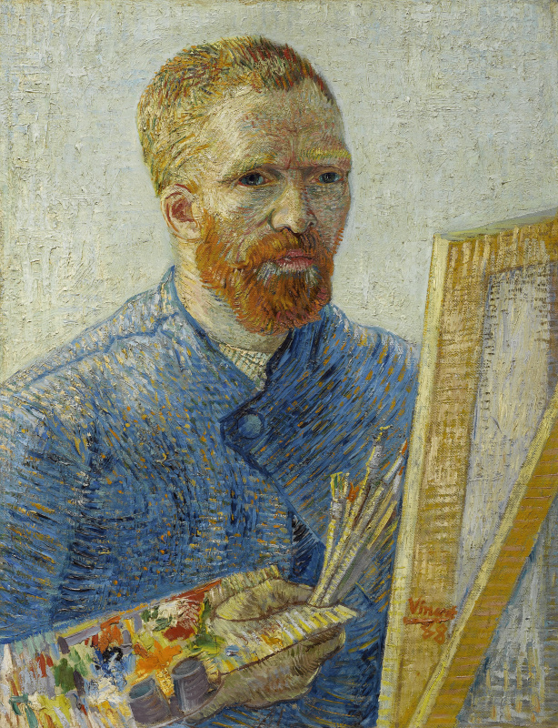 Vincent van Gogh. Self portrait in front of an easel