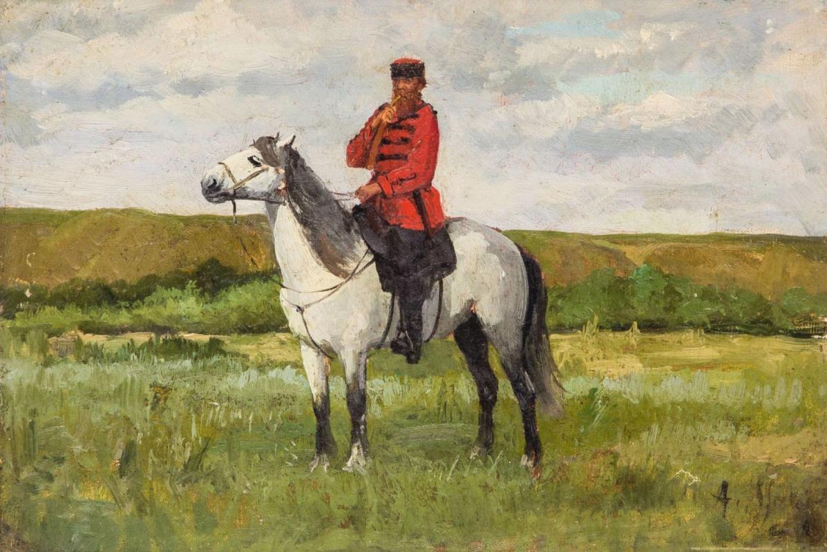 Alexander Eduardovich Mako. Cossack on a horse. The beginning of the twentieth century
