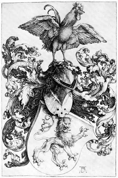Альбрехт Дюрер. Герб со львом и петух