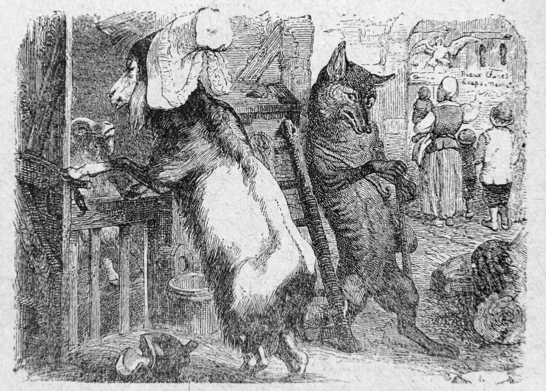 Жан Иньяс Изидор (Жерар) Гранвиль. Волк, Коза и Козленок. Иллюстрации к басням Жана де Лафонтена