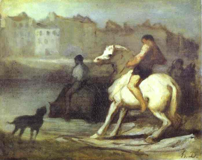 Honore Daumier. The rider and dog