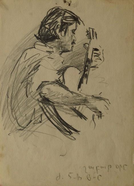 Albert Surenovich Parsamyan. Self portrait with guitar