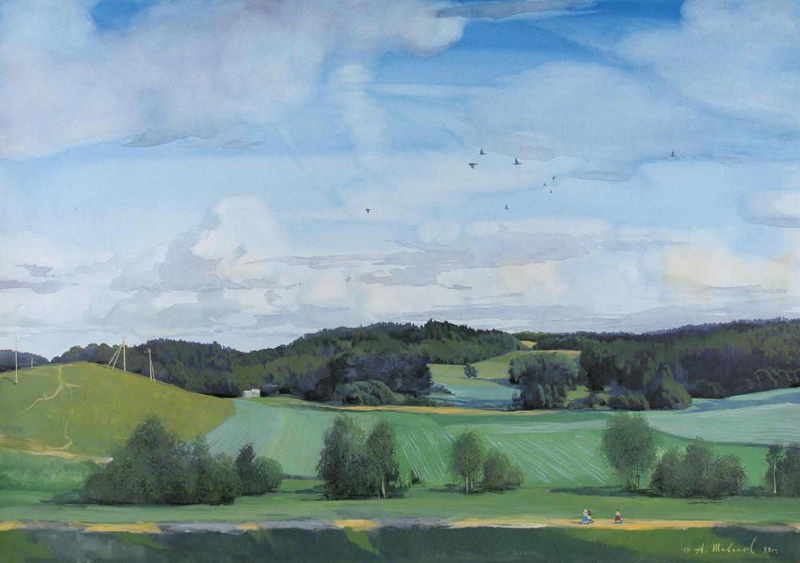 Alexander Victorovich Shevelyov. Sherekhovichesky fields. Watercolor on paper 50 x 70 cm. 1993