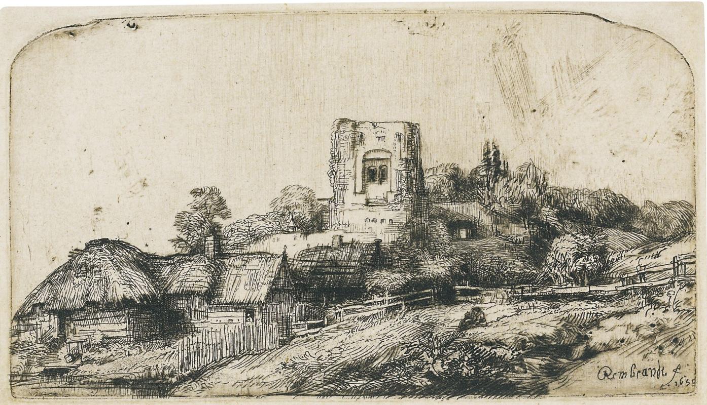 Рембрандт Харменс ван Рейн. Пейзаж с квадратной башней