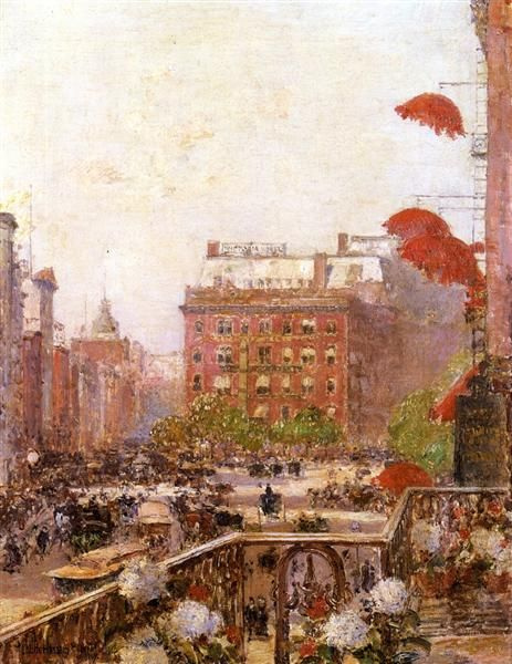 Childe Hassam. View of Broadway and Fifth Avenue