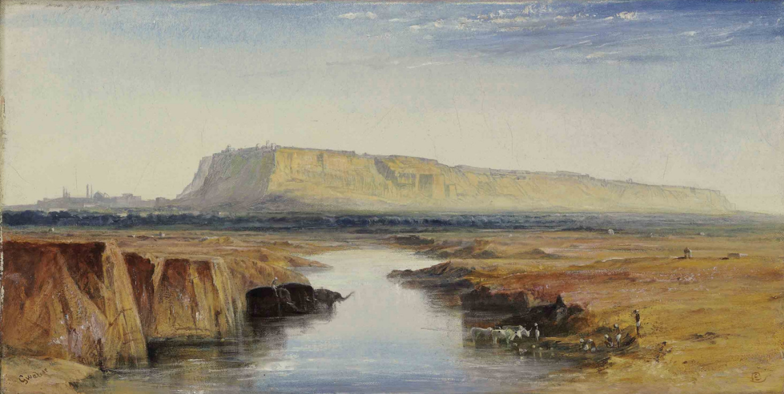Edward Lear. View of Gwalior, India